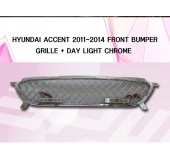 [SPW] Hyundai Accent RB - Chrome Front Bumper Grille with DRL